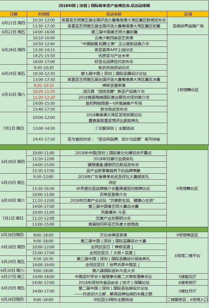 深圳茶博会活动表